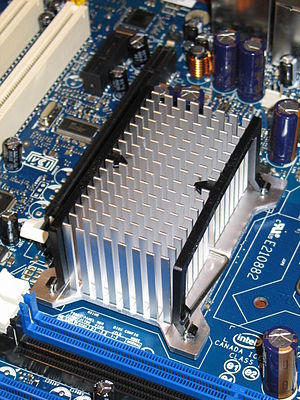 Radiator - A passive heatsink on a motherboard