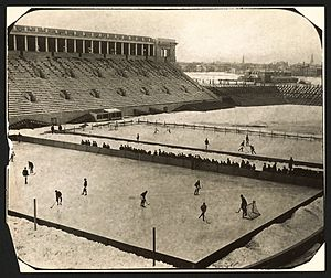 Harvard Crimson men's ice hockey - Harvard hockey game at Harvard Stadium in 1910.