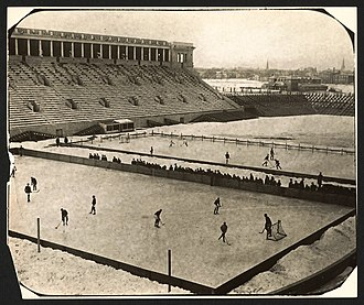 Harvard Crimson men's ice hockey - Harvard hockey game at Harvard Stadium in 1910.