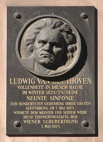 "Symphony No. 9 (Beethoven) - Plate installed at Building Ungargasse No. 5. It says: ""In this house Ludwig van Beethoven finished his Symphony No. 9 during winter 1823/24. In memorial of the centenary of the world premiere on May, 7 1824 the plate was dedicated to the master and his work by the Wiener Schubertbund on May 7, 1924."""