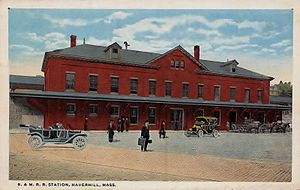 Haverhill station (Massachusetts) - 1918 postcard showing the 1905-built station