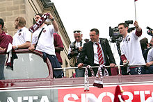 Hearts' parade with the trophy