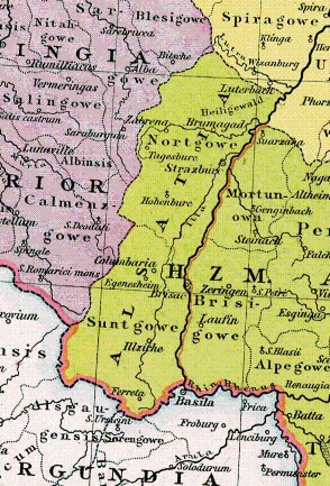 Sundgau - Alsace about 1000, divided into Nordgau and Sundgau