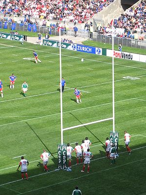 Stade Français - Stade Francais (blue and red kit) during a Heineken Cup match in 2005.