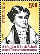 A stamp with an illustrated portrait of Henry Louis Vivian Derozio