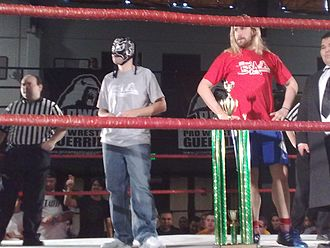 Chris Hero - Hero (right) in the ring with Excalibur at the 2008 Battle of Los Angeles
