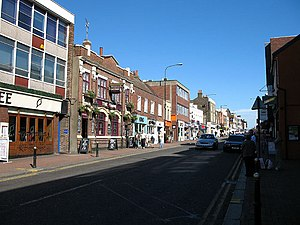 Brentwood, Essex - Looking east down Brentwood's high street in 2007.