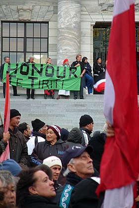 Protest hikoi during the Foreshore and seabed controversy in 2004 Hikoi 011.jpg