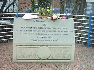 Football in England - Memorial to the 1989 Hillsborough disaster at the stadium. The disaster resulted in a modernisation of English stadia.