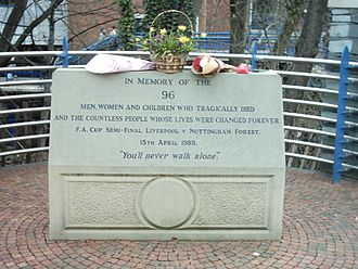 Football in England - Memorial to the 1989 Hillsborough disaster at the stadium. The disaster resulted in a modernisation of English stadiums.