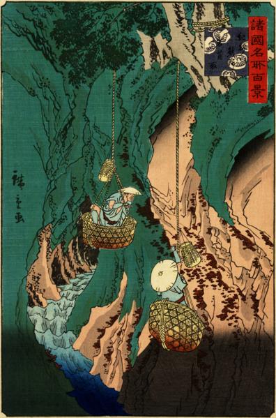 File:Hiroshige II - Kishu kumano iwatake tori - Shokoku meisho hyakkei.png