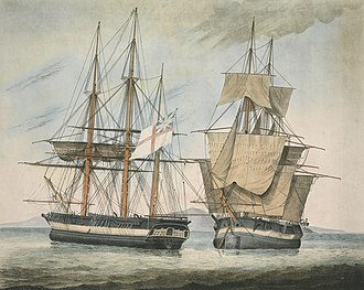 HMS Fury (1814) - Image: His Majesty's Discovery Ships Fury and Hecla RMG PY9224 (cropped)