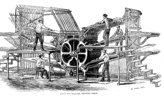 Rotary printing press - Hoe's six-cylinder rotary press from the 1860s. The printing plates are located on the large cylinder in the middle.