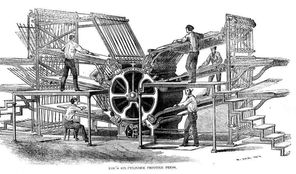 Hoe's six-cylinder press