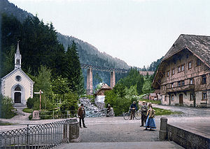 Höllental (Black Forest) - Höllsteig and the Ravenna bridge around 1900