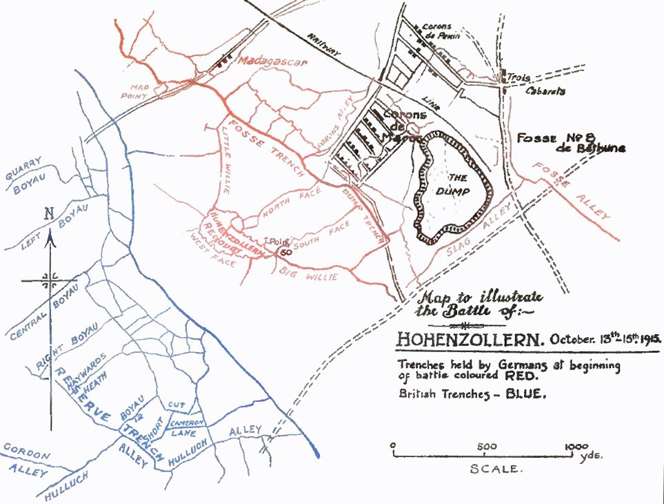 Hohenzollern Redoubt October 1915 map
