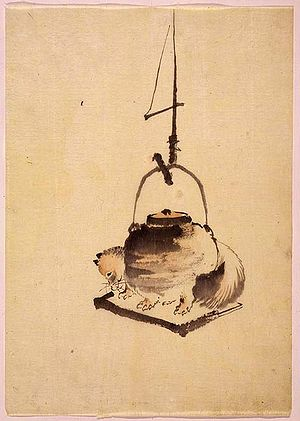 Japanese folklore - A raccoon dog half transformed into a cauldron hangs from a jizai kagi hook over an irori hearth (scene from the tale Bunbuku chagama). (c. 1840s, School of Hokusai)