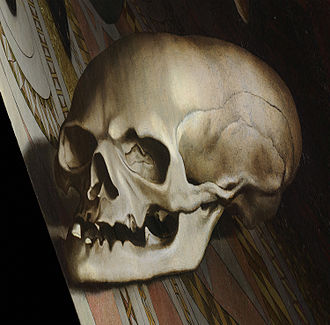 The Ambassadors (Holbein) - The anamorphic skull as restored in 1998