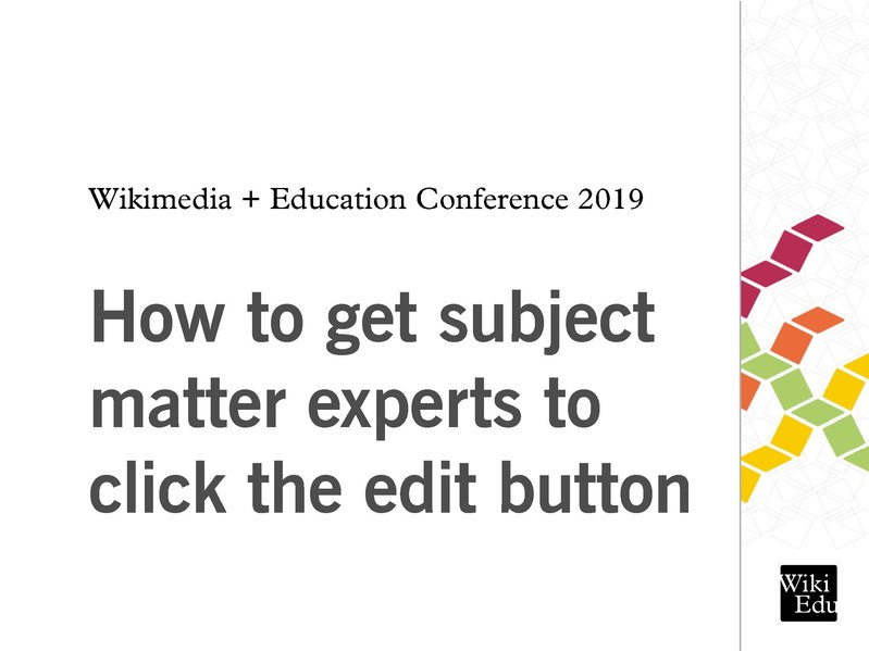 How to get subject matter experts to click the edit button