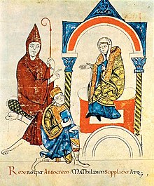 A crowned man on his knees before a woman and an abbot, each sitting on a throne