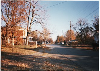 Huntertown, Indiana - The scenic, historic downtown district of Huntertown on Old Lima Road
