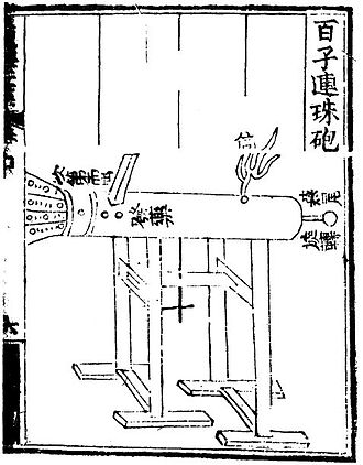 Jiao Yu - Essentially a fire lance on a frame, the 'multiple bullets magazine eruptor' shoots lead shots, which are loaded in a magazine and fed into the barrel when turned around on its axis.