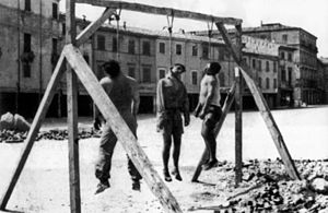 "Three Italian partisans executed by public hanging in Rimini, August 1944 I ""tre Martiri"" (Mario Cappelli, Luigi Nicolo, Adelio Pagliarani).jpg"