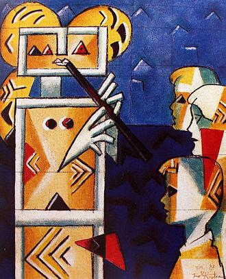 Ibrahim Kodra - Image: Ibrahim Kodra, Music lesson, 1997 oil on canvas, 80x 100 cm