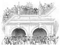 Illustrirte Zeitung (1843) 01 007 1 Sir I Brunel verläßt den Tunnel unter dem Beifallsrufe der Anwesenden.PNG