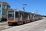 Inbound train at Taraval and 42nd Avenue, June 2018.JPG