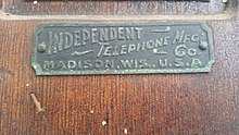 Independent Telephone Mfg. Co. Madison Wis. USA