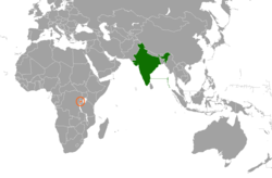 Map indicating locations of India and Rwanda