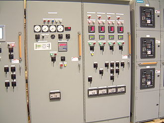 Switchgear - A section of a large switchgear panel, in this case, used to control on-board casino boat power generation.
