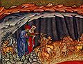 Inf. 12 Vitae Imperatorum Master, Il minotauro si allontana; Dante e Virgilio incontrano tre centauri seguiti da altri centauri, 1440 ca..jpg