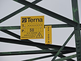 Terna Group - Information panel on a Terna high voltage line