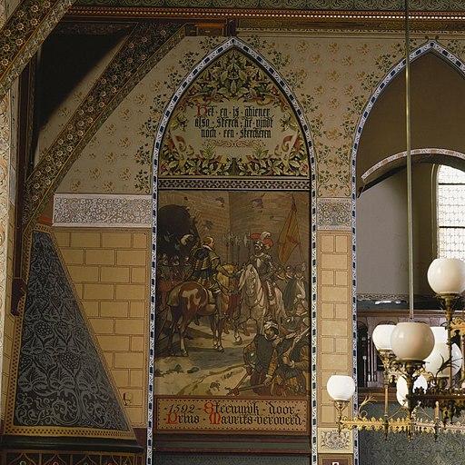 Interieur, eerste verdieping, achterzijde rechts (Statenzaal), muurschildering, 1592 Steenwijk door Prins Maurits veroverd - Zwolle - 20393811 - RCE