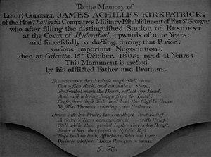 James Achilles Kirkpatrick - Memorial of James Achilles Kirkpatrick at St. John's Church, Kolkata