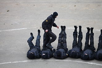 Internal Troops of Russia - An elite group of Vityaz special forces personnel during a public show in 2012