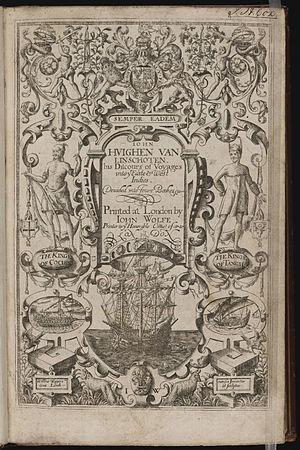 William Rogers (engraver) - Image: Iohn Huighen van Linschoten, his Discours of Voyages into ye Easte & West Indies title page