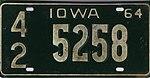 Iowa 1964 license plate - Number 42 5258.jpg