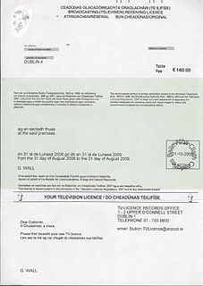 Television licensing in the Republic of Ireland Overview of the television licensing system of Ireland
