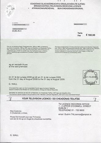 Television licensing in the Republic of Ireland - The physical license is a document issued by An Post