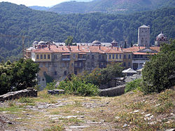 Iviron monastery lies near the site where according to tradition the Theotokos first landed on Athos