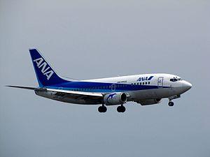 ANA Wings - An ANA Wings Boeing 737-500 landing at Kansai International Airport, Osaka, Japan. (2012)