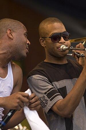 Rebirth Brass Band - Glen David and Troy Andrews at JazzFest 2010
