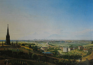 Mehringdamm - View in 1829 from the Kreuzberg northwards downhill over what is today's Tempelhofer Vorstadt with the then Berlin-Halle highway, today's Mehringdamm.