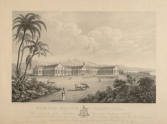 "Jamsetjee Jejeebhoy - Engraving of the Bombay Native Hospital, constructed at the joint expense of Jejeebhoy and the East India Company; it was later renamed ""Sir J.J. Hospital""."