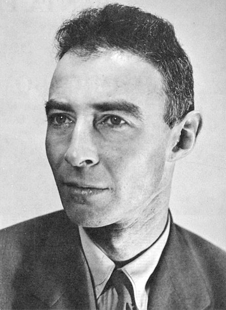 "Robert Oppenheimer, principal leader of Manhattan Project, often referred to as the ""father of the atomic bomb"". JROppenheimer-LosAlamos.jpg"