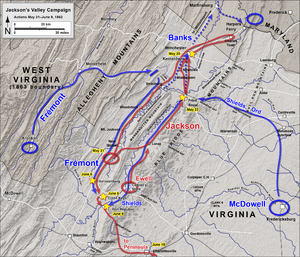 First Battle of Winchester - Image: Jackson's Valley Campaign May 21 June 9, 1862