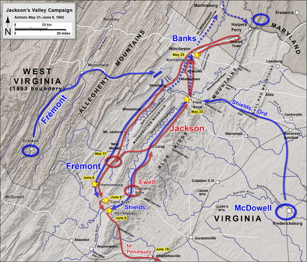 Valley Campaign: Front Royal to Port Republic Jackson's Valley Campaign May 21 - June 9, 1862.png